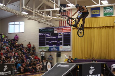 Throughout the assembly, many of the bikers did flips and tricks on the ramps.