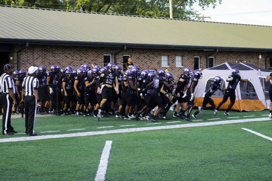NKC Hornets football team's introduction to the beginning of the season. They were hyped for the game that was soon a victory.