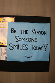 Teachers and student organizations post positive messages around the school to increase morale.